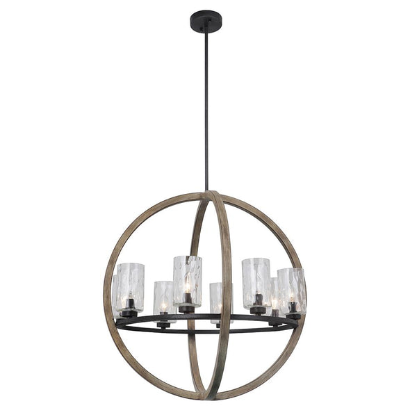 Mariana Home - Portland 8 Light Pendant Chandelier - Wood and Iron Finish