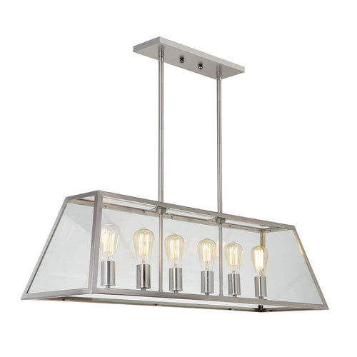 Branson 6 Light Pendant - Satin Nickel Finish - Mariana Home