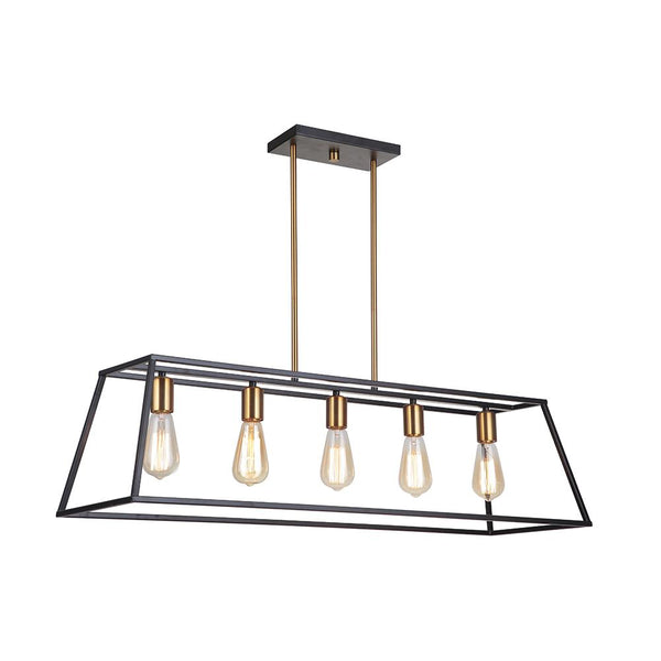 Mariana Home - Parkville 5 Light Pendant - Black and Gold Finish