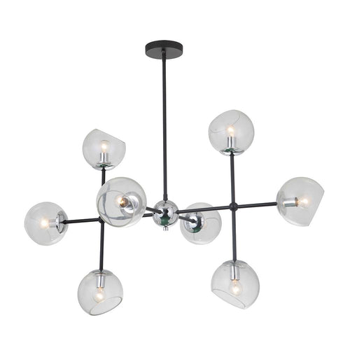 Mariana Home - Baltic 8 Light Chandelier - Black and Chrome Finish