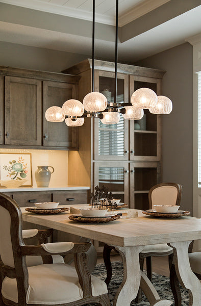 Knowles 8 Light Island Pendant - Black + Chrome