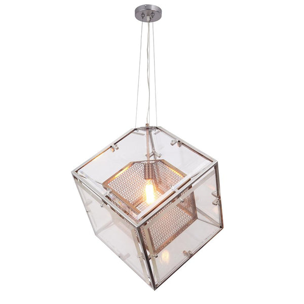 Mariana Home - Urbina Pendant - Silver and Brass - Mixed Metal Finish - Cube - 101155