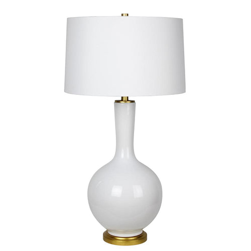 Mariana Home - Daphne One Light Table Lamp - White Ceramic - Gold Leaf Finish - 130032
