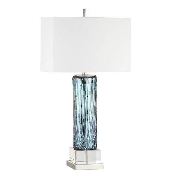 Mariana Home - Benevolent Table Lamp - Blue, Turquoise Art Glass Body with Silver Leaf Base - 130048