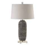 Mariana Home - Ebony Table Lamp - Silver Leaf Finish with Beige Linen Shade - 130049