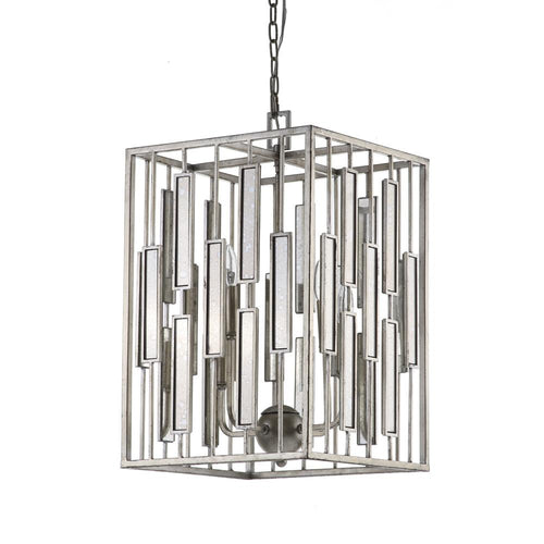Mariana Home - Shelby Four Light Pendant - Silver Leaf Finish - Antique Mirror - 152026