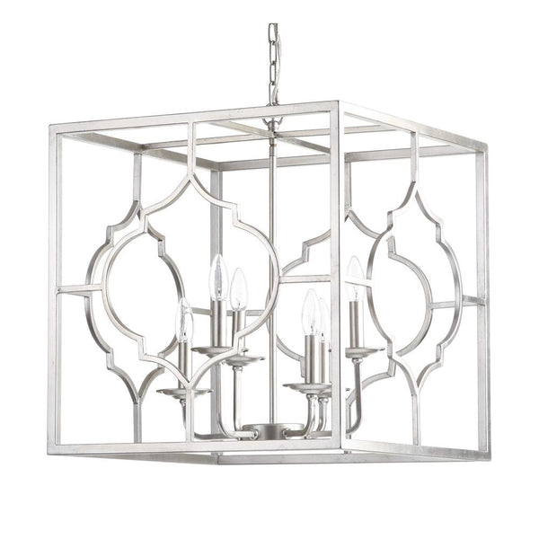 Mariana Home - Cassandra Six Light Pendant - Silver Leaf Finish - 152033