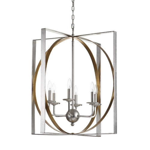 Mariana Home - Ilixur Six Light Pendant - Gold and Silver Leaf Finish - 152034