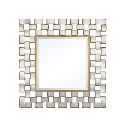 Mariana Home - Framed Square Corona Wall Mirror - Antique Mirror and Gold Leaf Finish - 152044