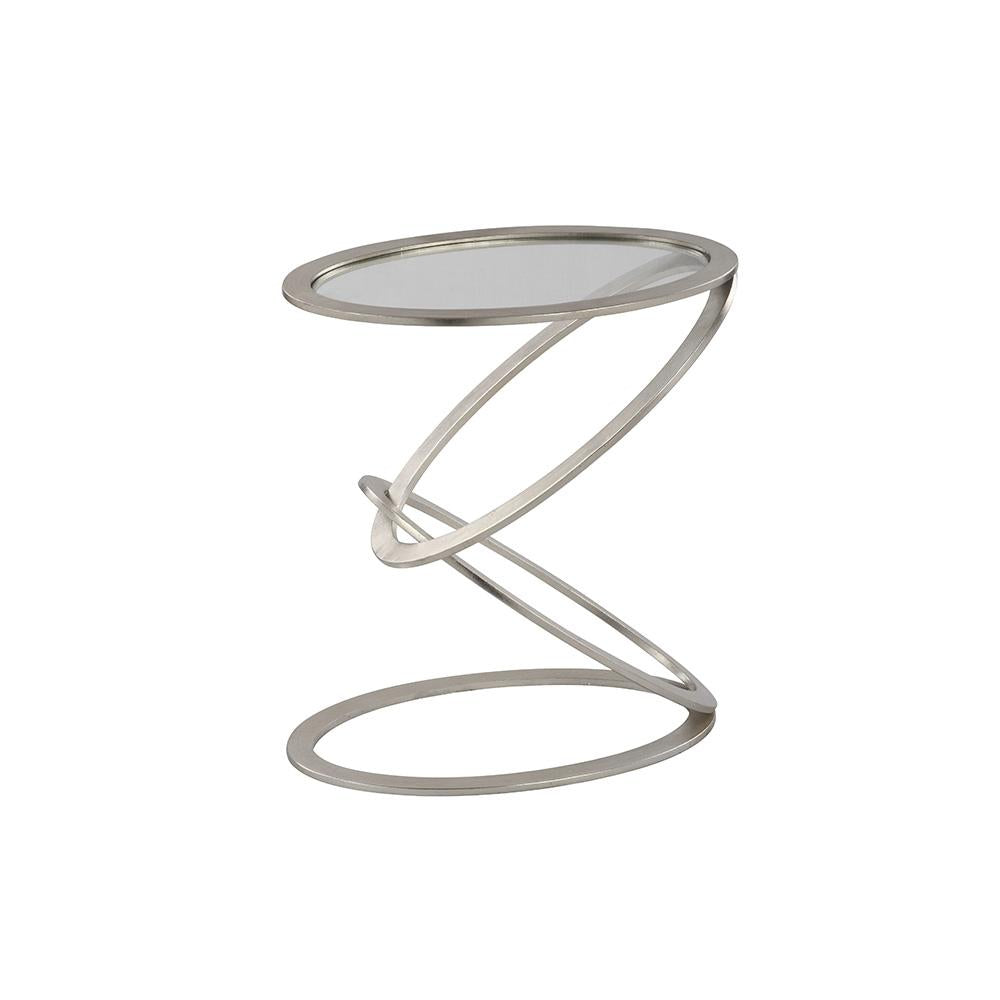 Zenith Accent Table   Silver Leaf