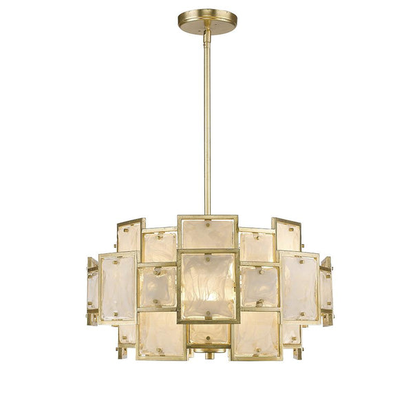 Mariana Home - Skyler Six Light Pendant - Gold Leaf Finish - Art Glass - 250623