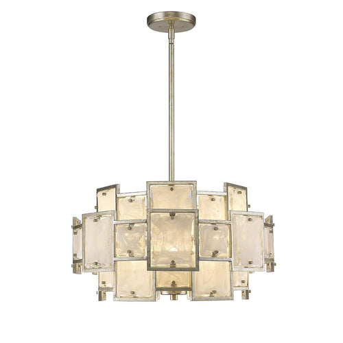 Mariana Home - Skyler Six Light Pendant - Silver Leaf Finish - Art Glass - 250628