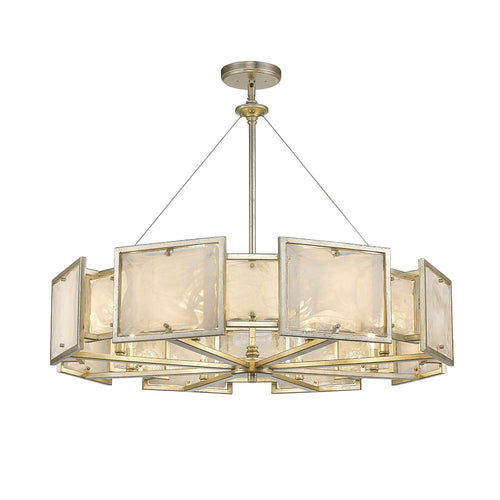Mariana Home - Skyler Eight Light Pendant - Silver Leaf Finish - Art Glass - 250828