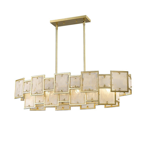 Mariana Home - Skyler Six Light Island Chandelier - Gold Leaf Finish - Art Glass - 256623