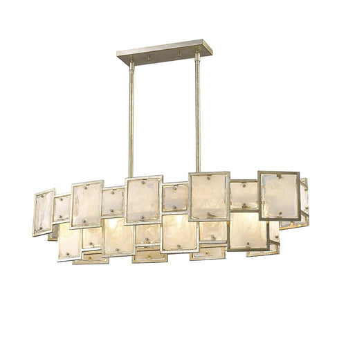 Mariana Home - Skyler Six Light Island Chandelier - Silver Leaf Finish - Art Glass - 256628