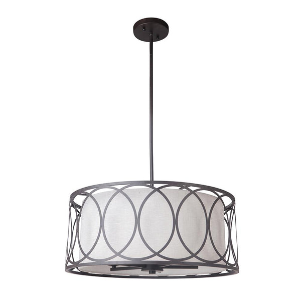 Mariana Home - Leela Pendant - Bronze Finish - White Drum Shade - 262583