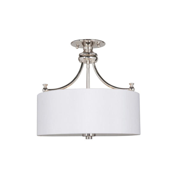 Mariana Home - Metropolitan Semi-Flush Mount with White Fabric Drum Shade - Polished Nickel/Silver Finish - 301525