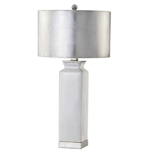 Mariana Home - Celine Table Lamp - White Ceramic - Silver Leaf Finish and Shade - 310015