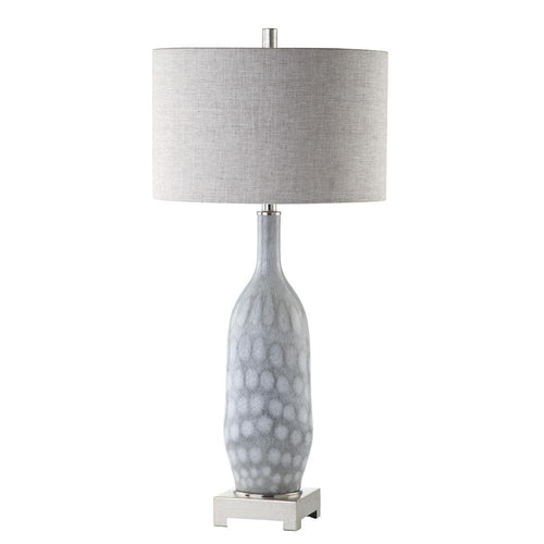 Mariana Home   Babette Table Lamp   Light Blue Art Glass Base With Silver  Leaf Finish