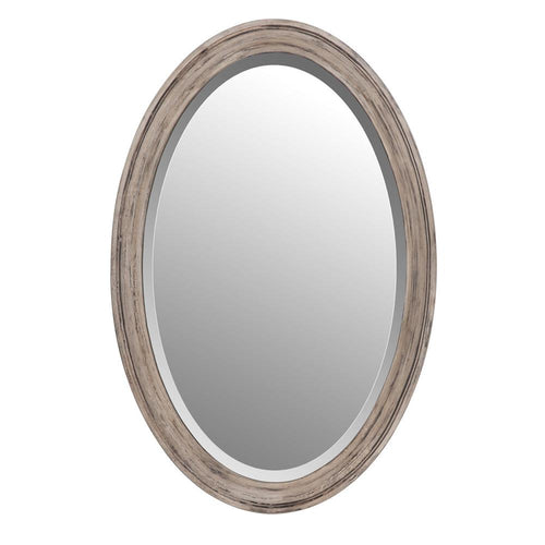 Mariana Home - Weathered Driftwood Framed Oval Wall Mirror - Farmhouse or Coastal Cottage Style - 340023