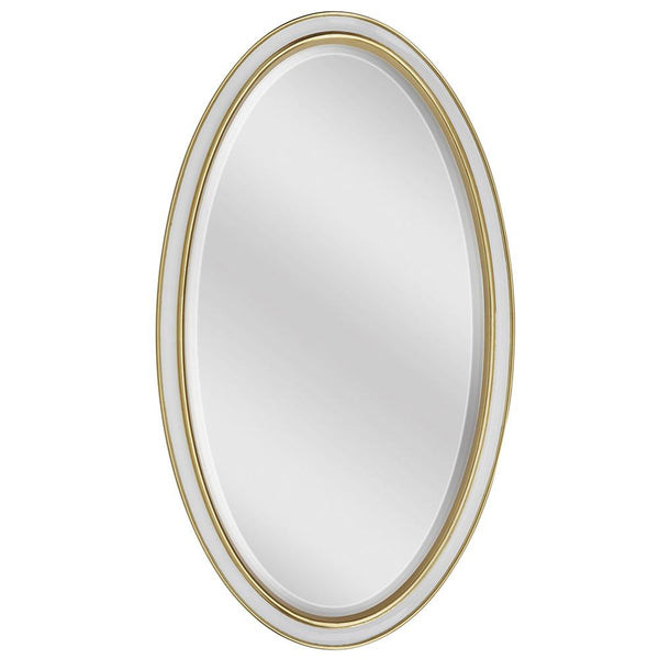 Mariana Home - Framed Oval Kinsley Wall Mirror - Gold Leaf and Ivory Finish - 340051
