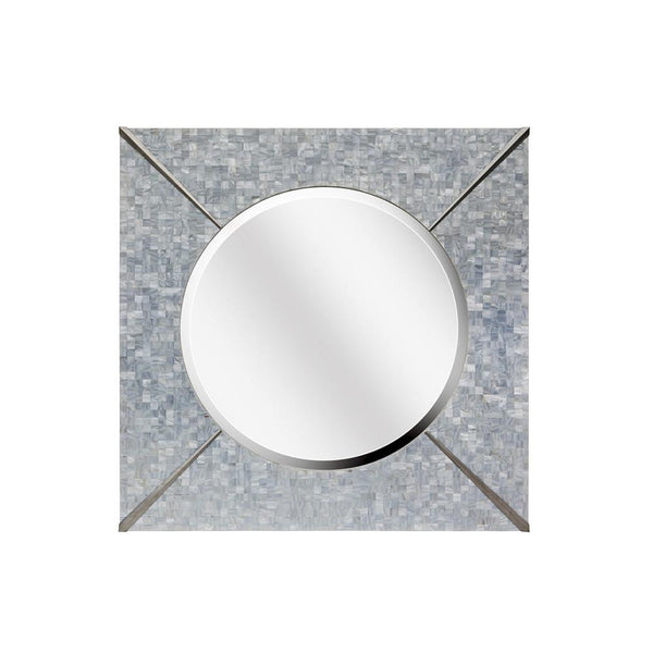 Mariana Home - Framed Square Bella Wall Mirror - Mother of Pearl and Nickel Finish - Coastal Style - 340055