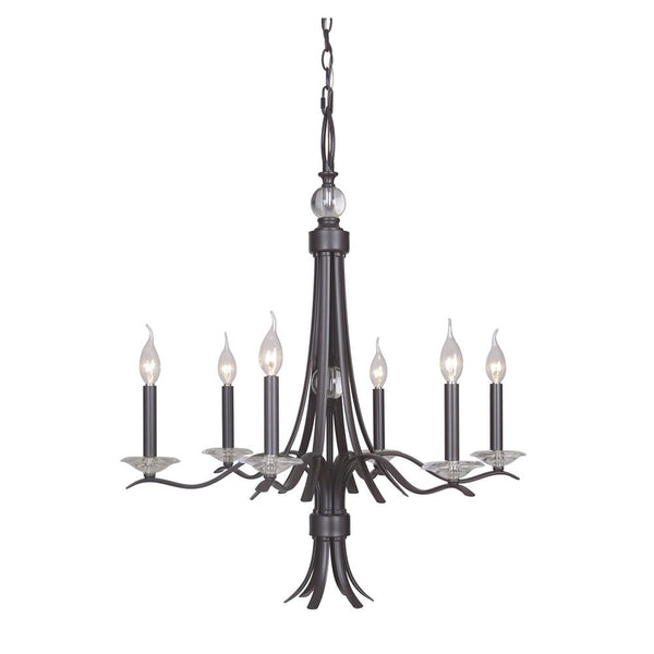 Mariana Home - Contessa Six Light Chandelier - Bronze Finish with Crystal Accents - 390673