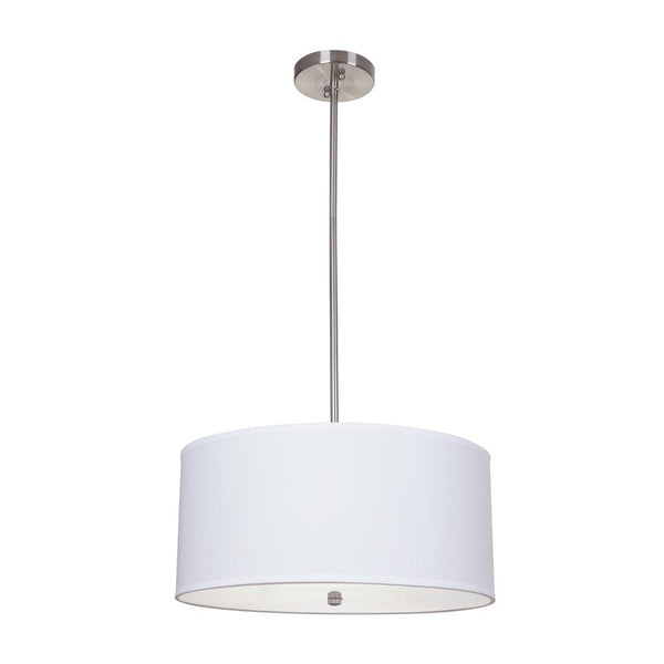 Mariana Home - Medium White Drum Pendant - Satin Nickel Finish - 422045
