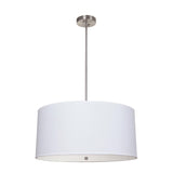 Mariana Home - Large White Drum Pendant - Satin Nickel Finish - 422645