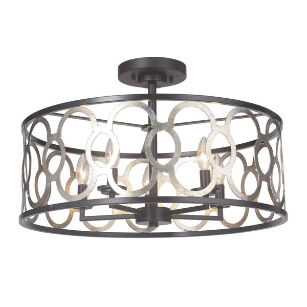 Mariana Home - Cloey Five Light Dual Mount Pendant - Semi Flush - Antique Silver Leaf and Urban Bronze - 542383