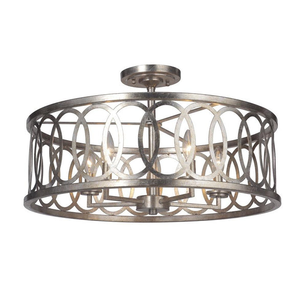Mariana Home - Corbin Five Light Dual Mount Pendant - Semi-Flush - Antique Silver Leaf Finish - 562314