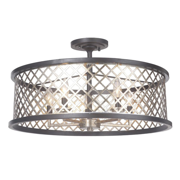 Mariana Home - Aiden Five Light Dual Mount Pendant - Semi-Flush - Antique Silver Leaf and Urban Bronze Finish - 562383