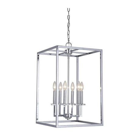 Durante 6 Light Pendant - Silver Leaf