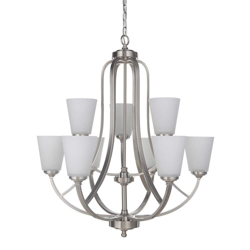 Mariana Home - Hugo Nine Light Chandelier - Satin Nickel Finish - 630945
