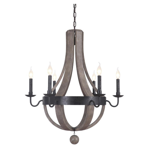 Mariana Home - Lancelot Six Light Chandelier - Bronze and Washed Wood Finish - 700686