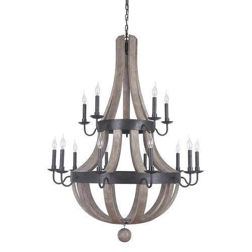 Mariana Home - Lancelot 15 Light Chandelier - Bronze and Washed Wood Finish - 701586