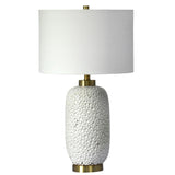 Mariana Home - Harrison Table Lamp - Dimpled White Ceramic Body with Gold Leaf Base - 830026