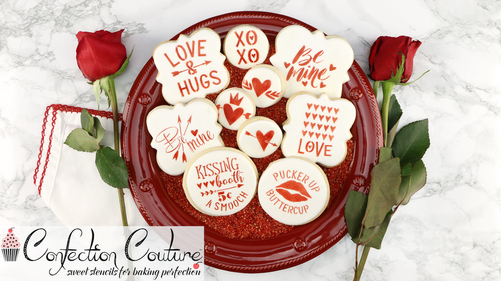 Love and Hugs Valentine Cookie Stenciling