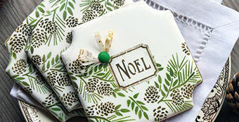 Noel Prettier Plaques Stenciled Cookie