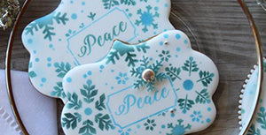 Peace Prettier Plaques Stenciled Cookie (with Merry Variation)