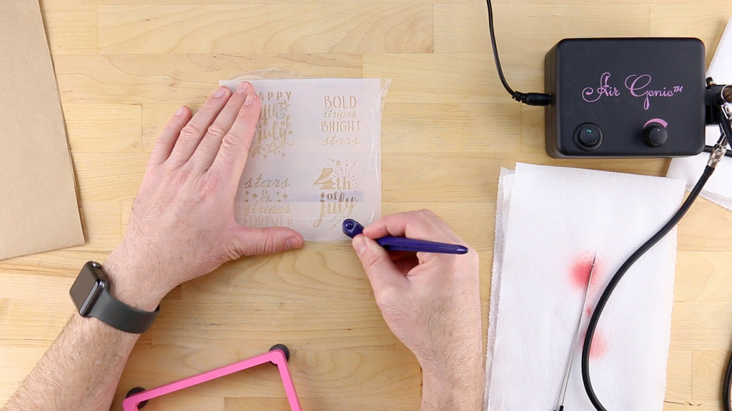 Use Glad Press'n Seal for every stencil and color