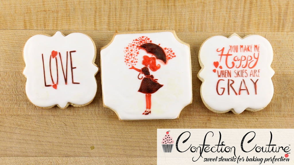 You make me happy when skies are gray cookie stencils