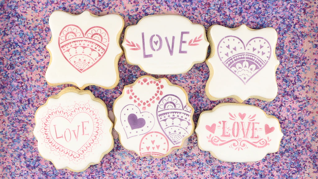 Paper Hearts, Retro Love, and Mehndi Valentines Cookie Stencils