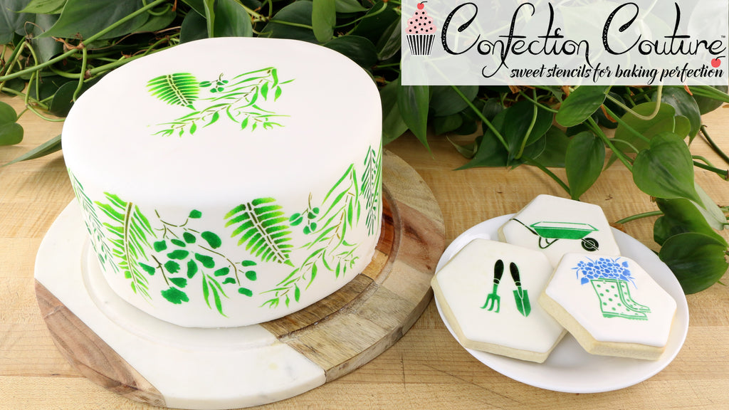 Vintage Botanicals Cake with Garden Elements Cookies