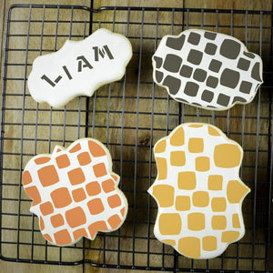 Retro Squares Basic Background Cookie Stencil by Confection Couture