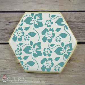 Tropical Hibiscus Background Cookie Stencil