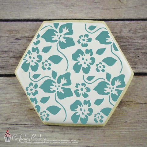 Tropical Hibiscus Basic Background Cookie Stencil by Confection Couture