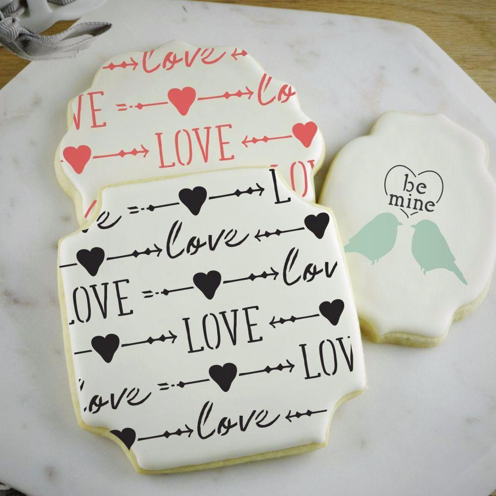 Love and Arrows Basic Background Cookie Stencil by Confection Couture
