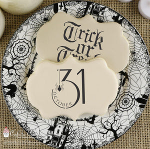 Trick or Treat Basic Words Cookie Stencil by Confection Couture