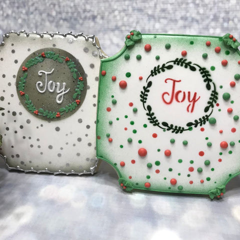 Joy 1 Prettier Plaques™ 5-Piece Cookie Stencil Set by Julia Usher